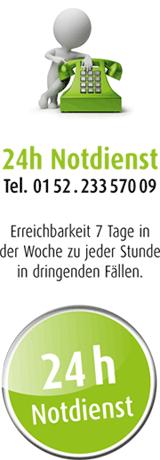24h Notdienst - Tel. 0152.23357009 -Erreichbarkeit 7 Tage in der Woche zu jeder Stunde in dringenden Fällen.